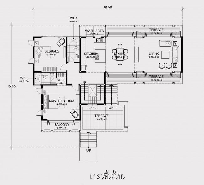 แบบบ้านชั้นครึ่ง สไตล์โมเดิร์น 2 ห้องนอน