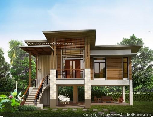 แบบบ้านชั้นเดียว Modern Tropical บ้านใต้ถุนยกสูง